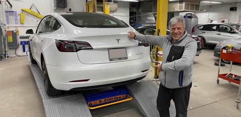 Tesla car hitch installation